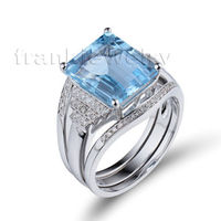 2015 Jewelry Set Ring Set Emerald Cut 10x12mm 14K White Gold Natural Blue Topaz Finger Ring For Men Real Gold Jewelry R00322