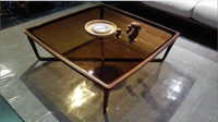 Antique style Wooden coffee table glass teapoy table antique style