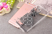 Cheap sell dress phone case for iPhone 7 rubber cover / rhinestone decoration case for iPhone 7 gelly custom back cover