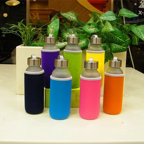 High quality belt cover glass drinking bottles