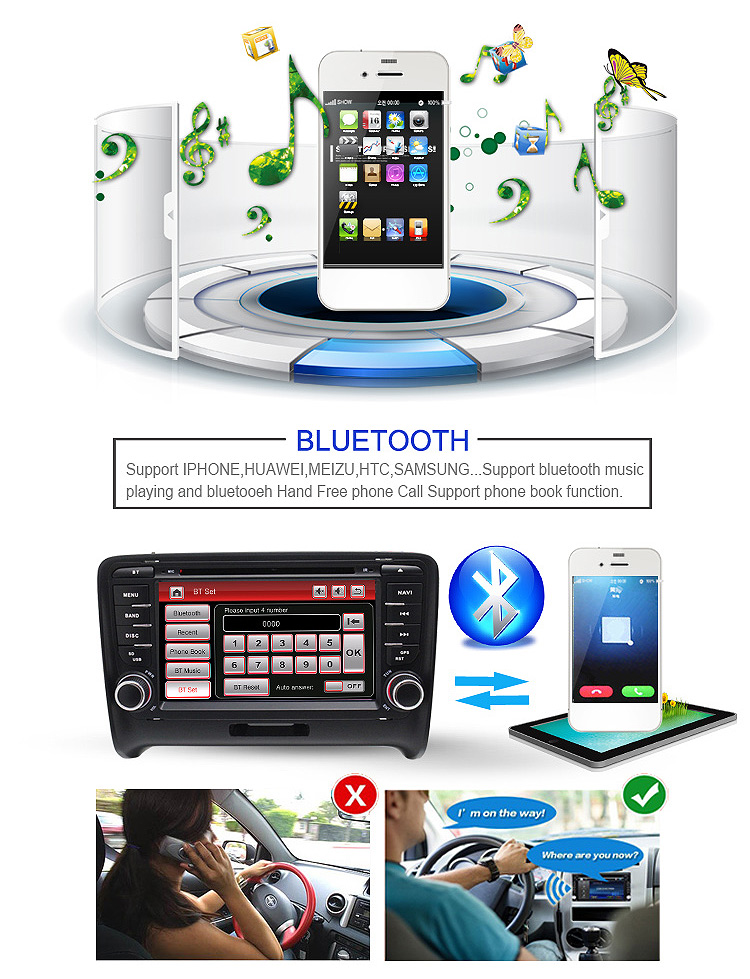 2DIN 7inch IN-Dash Wince 6.0 Car Audio DVD Player for AU DI TT / TTS With Bluetooth Radio GPS Navigation