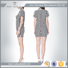 New style short sleeve stripe top and pants fashionable formal ladies office suits