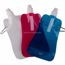 Promotional gift 480ml foldable flexible water bag customized collapsible reusable travel water bottle for hiking, camping