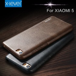 Wholesale Price Vintage Style PU Leather Black Cover For Xiaomi MI5 Case