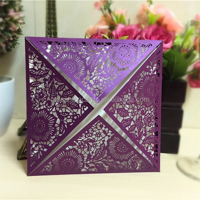 Wedding 2016 Ideal Products Royal Paper Cut Invitations with Envelopes Purple