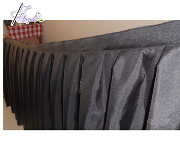 made in china hot sale banquet hotel plain dyed black table skirts for trade show advertisement
