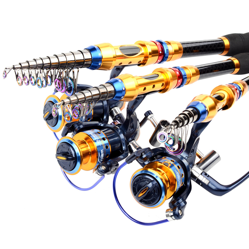2.1M/2.4M Sea Portable Telescopic Fishing Rod + 2000-4000 Series Spinning Fishing Reel Fishing Tackle Set