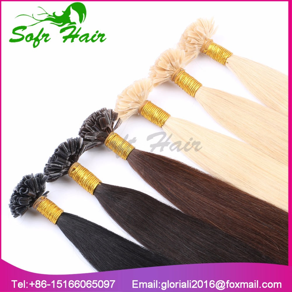 Big brazilian hair factory supply <strong>U</strong> tip no track natural hair extensions human hair 1 gram *100
