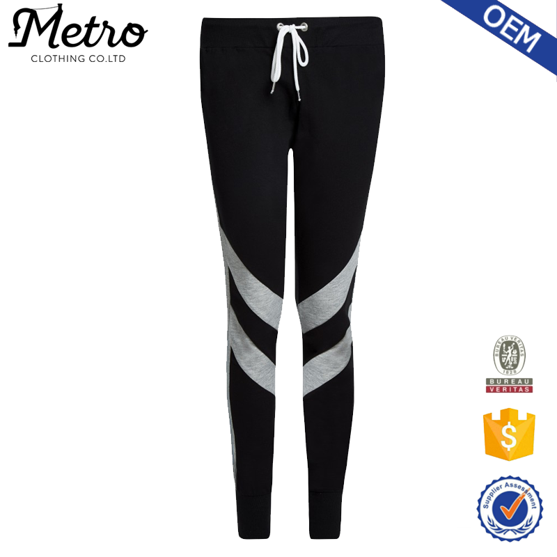 New arrival OEM slim fit stripe side 100% cotton Jogger for women