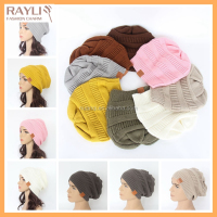 Unisex women men new design winter solid color plain knit ski cap fashion hat