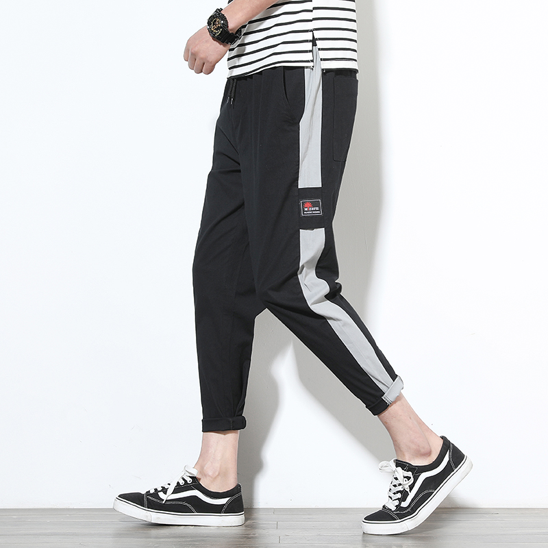 Cotton Polyester Strap Side Sport Tapered Mens Jogger Pants
