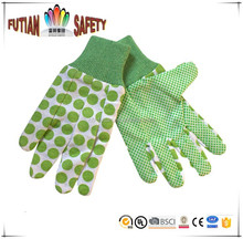 FTSAFETY 100% Cotton flower gardening glove with mini pvc dots for lady