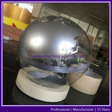 Small Size Clear Acrylic Plastic Globe, Silver Acrylic Globe World Map