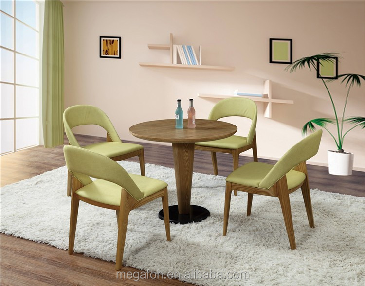 Modern oak wood restaurant furniture round dining table 4 chairs (FOH-BCA48)