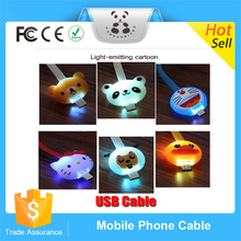 New China products Hi-Speed Led Light Usb 2.0 Micro Usb Cable With Cartoon Adapter for iphone samsung