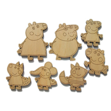 Wooden Peppa Pig children toy craft Christmas gifts