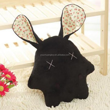 cheap lovely kids plush pillow stuffed black rabbit plush toys
