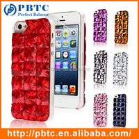 Set Screen Protector And Case For iPhone 5 , Hard Plastic Bling Diamond 3D Crystal Phone Case