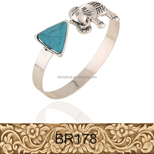 Hot sell most beautiful new design elephant turquoise triangle shape design alloy bangles