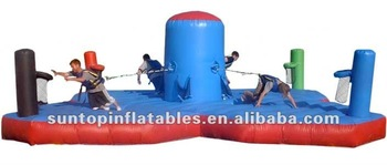 challenge sports game inflatable bungee run basketball