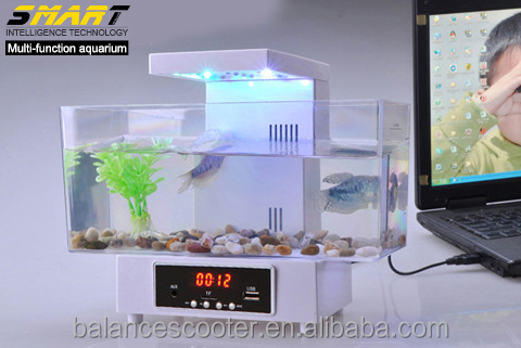 Creative Design aquarium fish tank with FM scan radio decorative acrylic jellyfish aquarium