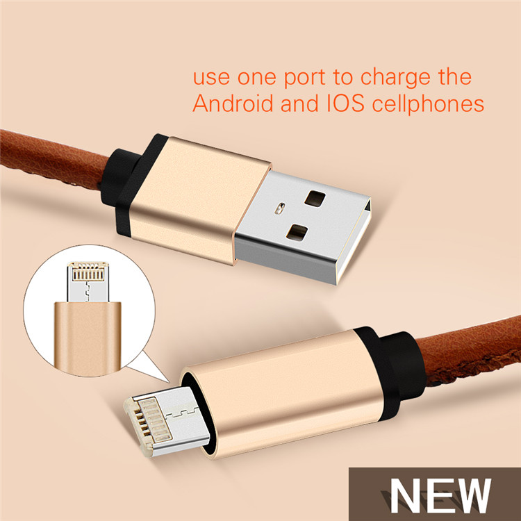 Hot selling Multi-function colorful pu leather nylon 2 in 1 mobilephone usb data charging cable for android and phone 5/5s/6s/6p