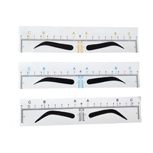 Plastic Disposable Eyebrow Stencil Stickers Adhesive Eyebrow Ruler Private Label 3D Microblading Stencils PMU Shaping Tool