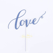 Love glitter paper cake topper for wedding party decoration