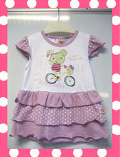 Wholesale Cute Girls Cotton Baby Girl Dresses Purple and White Color Design In Summer Wear
