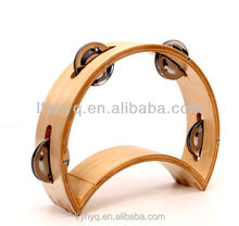 wooden moon shape wood tambourine musical instrument toys for kid for sale
