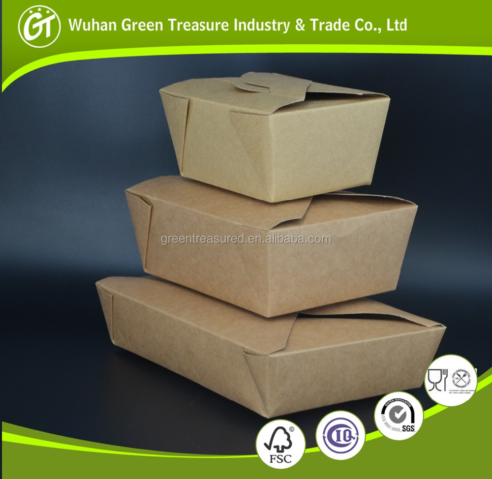 Fast food biodegradable container recycle box, origial color kraft paper container food take away kraft package boxes