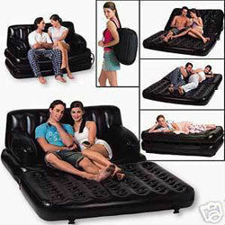 5 in 1 inflatable air sofa cum bed with free electric Pump