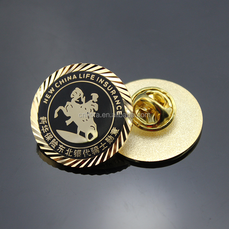 Personalized lions club Round pin brooch gold metal badge