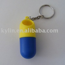 plastic Pill box with key chain