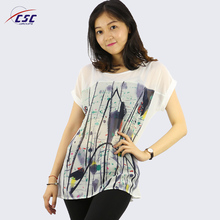 wholesale customize floral printing o-neck chiffon blouse tops