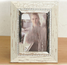 Good quality wooden photo frame Distressed and Cracked white wood picture frame with Rhinestone