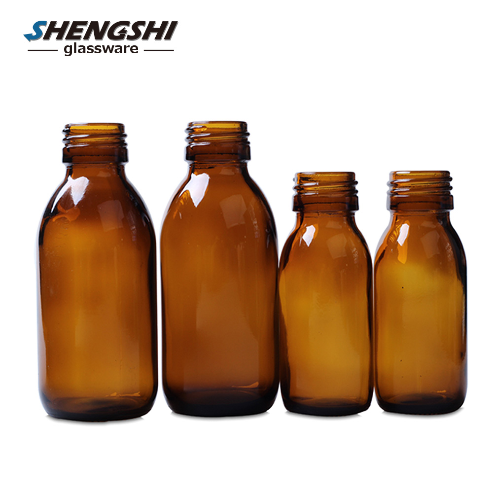 30ml 60ml 90ml 125ml 200ml 300ml Round Amber Clear Pharmaceutical Glass Bottle with Caps for Medical Syrups