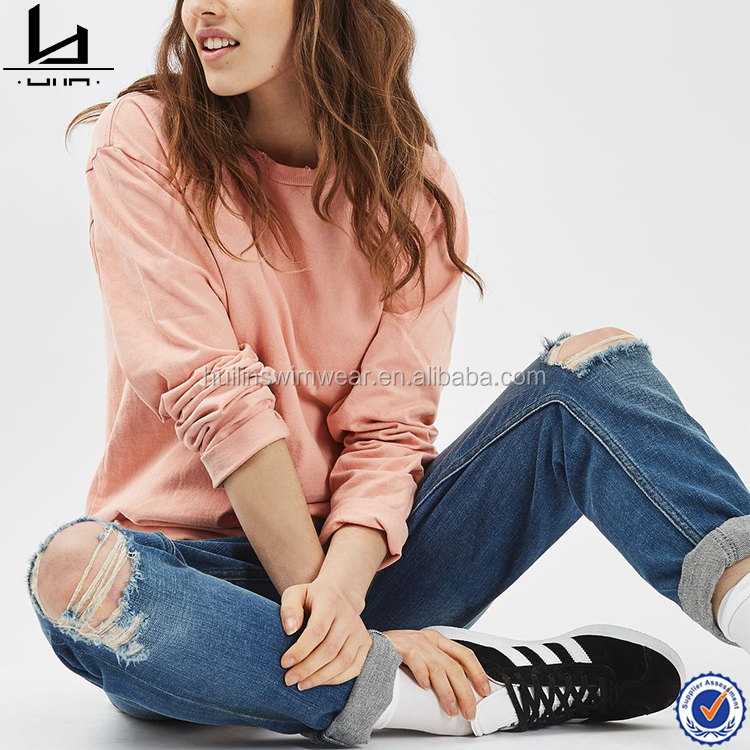 New style fashion 100% cotton womens long sleeves blank longline t shirt