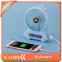 Charging stand mini handheld led light rechargeable portable led mini Mobile power fan in china