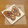 2016 Latest Square Wooden Gold Wedding Invitation Butterfly Design