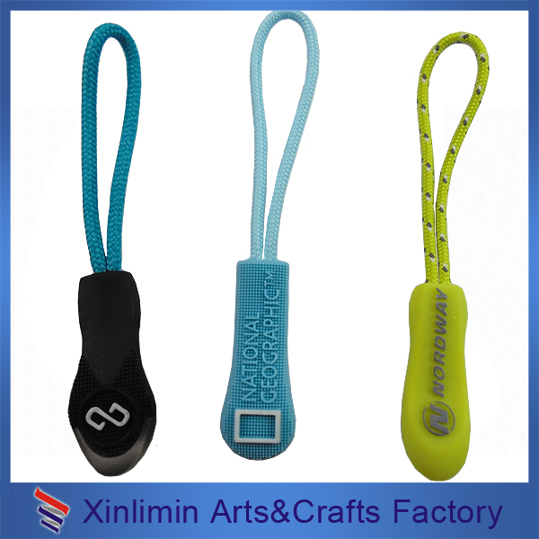 Custom logo pvc cord key locking zipper sliders