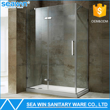 Top Selling Simple Design 304 Stainless Steel Spare Parts Free standing Tempered 8mm glass corner shower