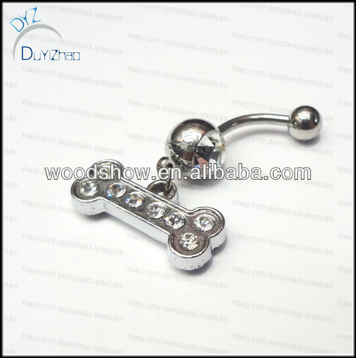 Crystal 316L Steel shiny navel belly rings cute dangle belly button rings Body jewelry/piercing