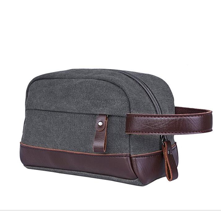 Durable Fashion Travel Men's Canvas Zip Travel Pouch Toiletry Wash Bag