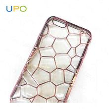 [UPO]Luxury Ultra Thin Clear Crystal Rubber Plating Electroplating TPU Soft Mobile cell Phone Case For iPhone 6