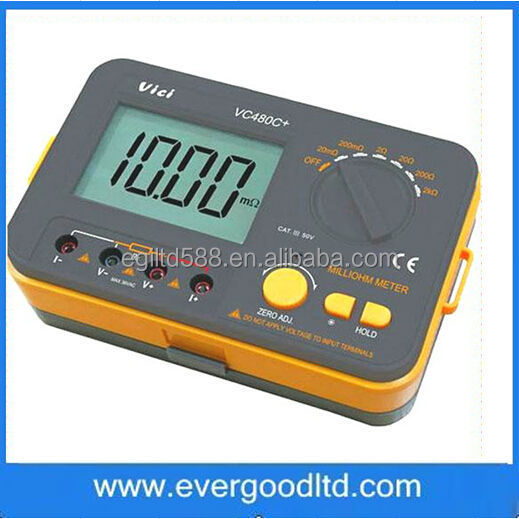 VC480C+ 3 1/2 Digital Milli-ohm Meter Multimeter 4 Wire Test Accuracy Backlight