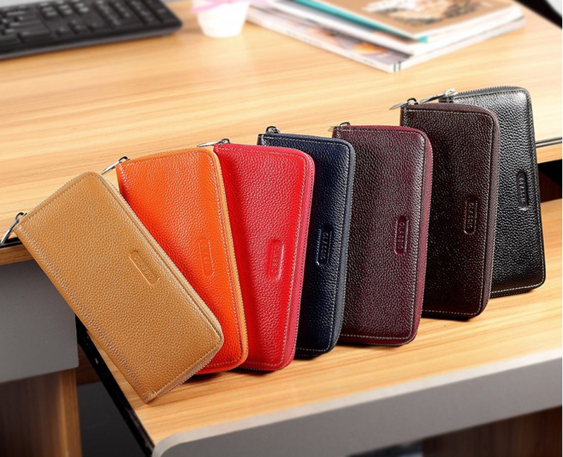 2016 new design durable exquisite slim bling waterproof leather wallet for women with zipper