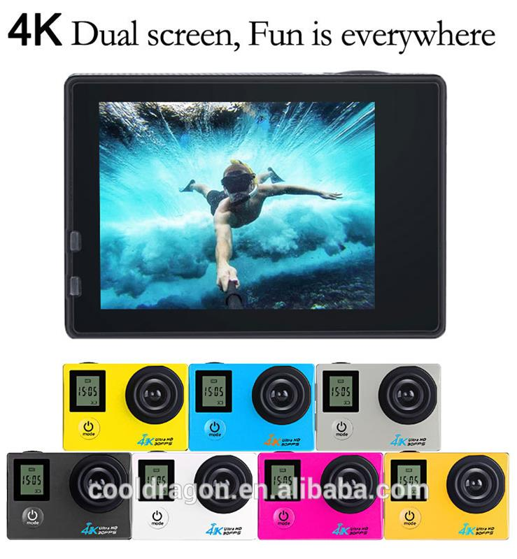 Cooldragon FX-K1 wifi ultra hd action camera 4K double screen H.264 MP4 timing photo mode slow photograpy wifi