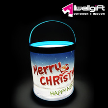 2015 Merry Christmas Gift Solar Decorative Light white LED Bucket Lantern