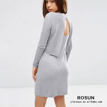 Ribbed knit round neckline twin set sweater tight fitted dress
